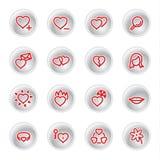 Ícones vermelhos do amor Fotografia de Stock Royalty Free
