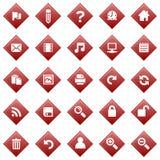 Ícones vermelhos do diamante ilustração do vetor
