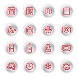 Ícones vermelhos dos aparelhos electrodomésticos Imagens de Stock Royalty Free