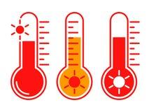 ?cones vermelhos gr?ficos do grupo de alta temperatura ilustração stock