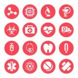 Ícones vermelhos monocromáticos médicos Foto de Stock