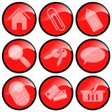 Ícones vermelhos para o comércio electrónico Imagem de Stock Royalty Free
