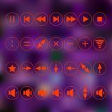 Ícones vermelhos uso na vida quotidiana sinais - adição, multiplicação, divisão, também Chaves de seta - acima, para baixo, esque Foto de Stock