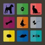 Ícones veterinários com animais de estimação Foto de Stock Royalty Free