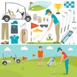 Ícones vetor e jogador do golfe ilustração royalty free
