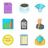 Ícones virais ajustados, estilo da venda dos desenhos animados ilustração stock