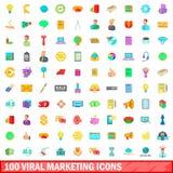 100 ícones virais ajustados, estilo do mercado dos desenhos animados Foto de Stock