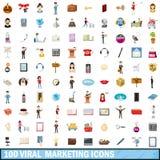 100 ícones virais ajustados, estilo do mercado dos desenhos animados Fotografia de Stock