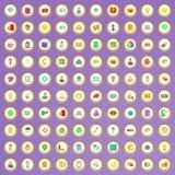 100 ícones virais do mercado ajustados no estilo dos desenhos animados Imagens de Stock