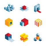 ícones virtuais criativos do logotipo do elemento da empresa da ideia startup do mundo 3D ilustração royalty free