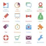 Ícones Vol 2 do mercado do Internet da cor Fotos de Stock