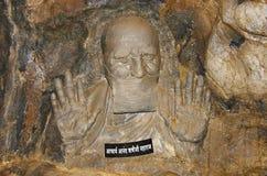 Ídolo da argila de Aacharya Anand Rushiji Maharaj, Sant Darshan Museum, Hadashi imagem de stock