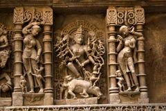 Ídolo de la diosa Durga en el vav del ki de Rani Fotos de archivo libres de regalías