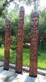 Ídolo de madera tres de la cultura eslava Fotos de archivo libres de regalías