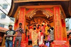 Ídolo hindú de la diosa en Pandal, templo temporal para Imágenes de archivo libres de regalías