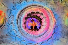 Ídolo hindú de la diosa en Pandal, templo temporal para Imagen de archivo libre de regalías