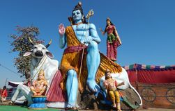 Ídolo hindú de señor Shiva de dios, cerca del templo en Keesara, durante Mahasihvaratri fesival Fotografía de archivo libre de regalías