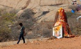 Ídolo hindú de señor Shiva de dios, cerca del templo en Keesara, durante Mahasihvaratri fesival Imagen de archivo