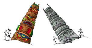 Ídolos de madera y de piedra ilustración del vector