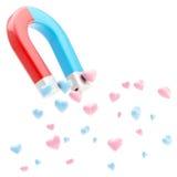 Ímã em ferradura simbólico que atrai corações do amor Imagens de Stock Royalty Free