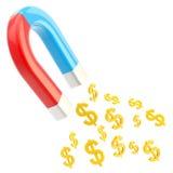 Ímã em ferradura simbólico que atrai euro- sinais Fotos de Stock