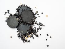 Ímãs macro minimalistas do witth do conceito e elementos técnicos foto de stock