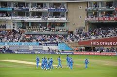 Índia contra Inglaterra em senhores Fotografia de Stock Royalty Free
