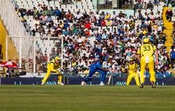 Índia contra o grilo de Austrália Fotos de Stock Royalty Free