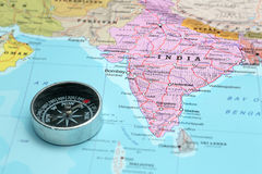 Índia do destino do curso, mapa com compasso Foto de Stock Royalty Free