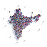 Índia do mapa da forma do grupo dos povos Foto de Stock Royalty Free