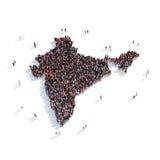 Índia do mapa da forma do grupo dos povos Foto de Stock
