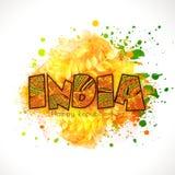 Índia floral do texto para a celebração indiana do dia da república Fotografia de Stock Royalty Free