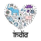 Índia sob a forma do coração ilustração do vetor