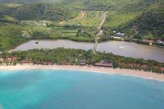 Índias Ocidentais, as Caraíbas, Antígua, vista sobre a baía da galera Fotos de Stock Royalty Free