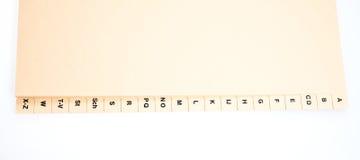 Índice alfabético para clasificar direcciones del cliente foto de archivo