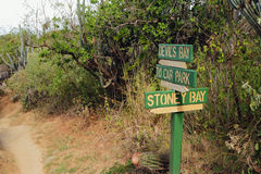 Índice de direcciones en parque natural nacional Virgin Gorda, Tortola imagen de archivo libre de regalías
