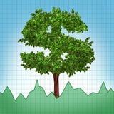 Índice de la carta del árbol del crecimiento de la inversión de existencias hacia arriba Foto de archivo libre de regalías
