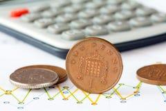 Índice de la moneda británica Imagenes de archivo