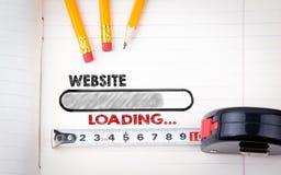 Índice do projeto do Web site Artigos de papelaria e caderno, fundo do negócio Foto de Stock