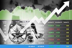 Índice financiero común en los datos acertados del crecimiento de la inversión para el negocio de la atención sanitaria imágenes de archivo libres de regalías
