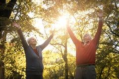 Índice superior ativo dos pares no parque com mãos acima imagens de stock royalty free
