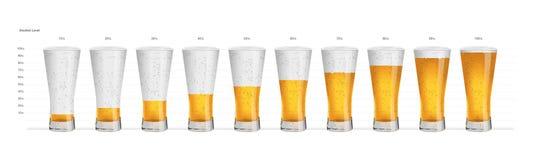 Índices de alcohol en vidrios de consumición Fotos de archivo libres de regalías