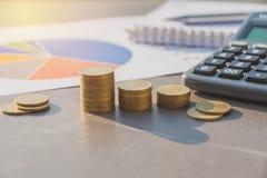 Índices financieros comunes con la moneda y la calculadora de la pila Financia Imágenes de archivo libres de regalías