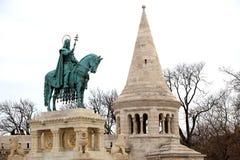 Άγαλμα Αγίου Stephen Ι της Ουγγαρίας στον προμαχώνα των ψαράδων στοκ φωτογραφία με δικαίωμα ελεύθερης χρήσης