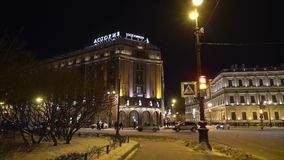 Άγιος-Πετρούπολη, Ρωσία - 12 Ιανουαρίου 2019: Ξενοδοχείο Astoria στο χειμώνα απόθεμα βίντεο