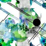 Άνευ ραφής αφηρημένο υπόβαθρο Watercolor Χρωματισμένα σημεία και γεωμετρικές μορφές διανυσματική απεικόνιση