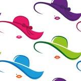 Άνευ ραφής ζωηρόχρωμα γυναικεία κομψά καπέλο και χείλια σχεδίων διανυσματική απεικόνιση