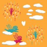 Άνευ ραφής θερινό υπόβαθρο με τους αγγέλους στα λουλούδια διανυσματική απεικόνιση
