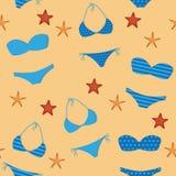 Άνευ ραφής σχέδιο καλοκαιρινών διακοπών σχεδίων με τα μπλε μπικίνια και τον αστερία απεικόνιση αποθεμάτων