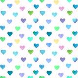 Άνευ ραφής σχέδιο καρδιών Watercolor συρμένο χέρι φωτεινό και ζωηρόχρωμο ελεύθερη απεικόνιση δικαιώματος